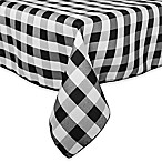 Gingham Poly Check 54-Inch Square Indoor/Outdoor Tablecloth in Black /White
