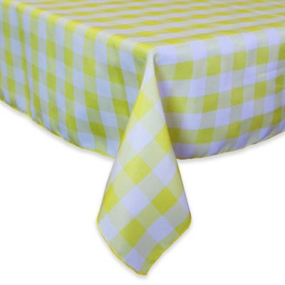 Gingham Poly Check 54 Inch Square Indoor/Outdoor Tablecloth In Lemon/White
