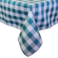 Gingham Poly Check 84-Inch Square Indoor/Outdoor Tablecloth in Teal/White