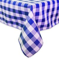 Gingham Poly Check 84-Inch Square Indoor/Outdoor Tablecloth in Royal/White