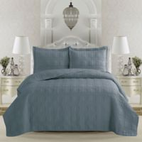 Great Bay Home Terra Full/Queen Quilt Set in Citadel Blue