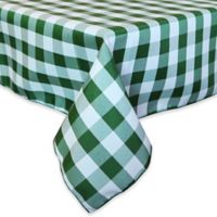 Gingham Poly Check 54-Inch Square Indoor/Outdoor Tablecloth in Moss/White