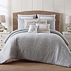 Tropical Plantation Embroidered Full/Queen Comforter Set in Grey/White