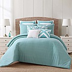Beach House Brights King Duvet Cover Set in Teal/White