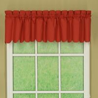 Orleans Tambour Scallop Edge Rod Pocket Window Valance in Brick Red