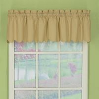 Orleans Tambour Scallop Edge Rod Pocket Window Valance in Linen