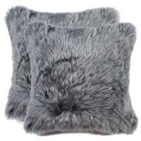 Sheepskin Square Throw Pillows in Grey (Set of 2)
