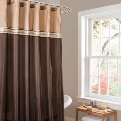 Lush Décor Terra Stripe Shower Curtain In Beige/Brown
