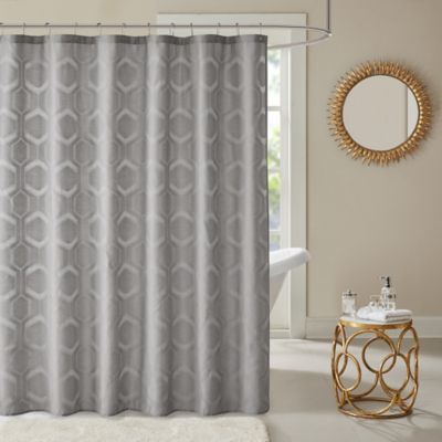 Madison Park Winston Jacquard Shower Curtain In Grey