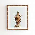 Deny Designs 14-Inch x 16.5-Inch Chelsea Victoria Gold Pineapple Bamboo Framed Wall Art