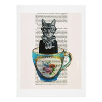 Deny Designs Coco De Paris 18-Inch x 24-Inch Cat in a Cup Wall Art