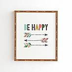 "Deny Designs 11-Inch x 13-Inch Chelcey Tate ""Be Happy"" Framed Wall Art"