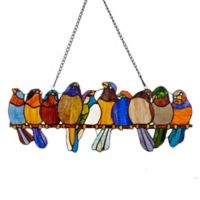 """River of Goods """"Birds on a Wire"""" Stained Glass Window Panel"""