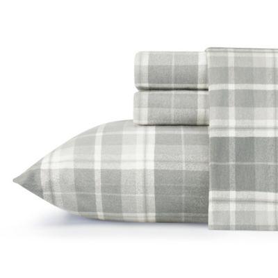 Laura Ashley™ Mulholland Flannel Twin Sheet Set In Grey