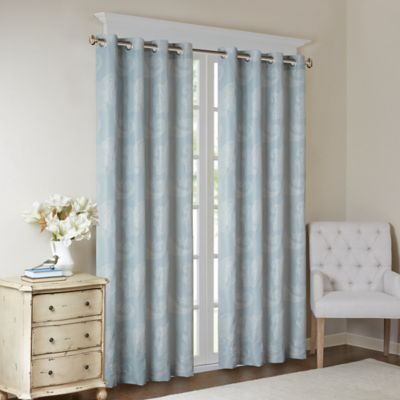 madison park arabella 84inch grommet top room darkening window curtain panel in aqua - Room Darkening Curtains