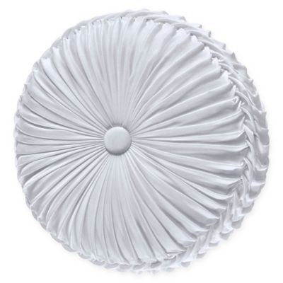 j queen new york carmella tufted round throw pillow in white