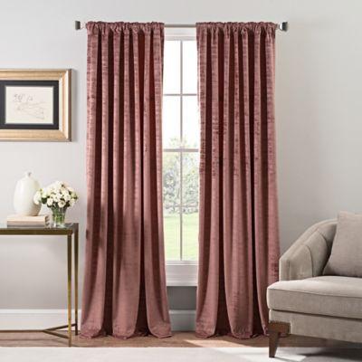Stockton Velvet 108 Inch Rod Pocket Back Tab Window Curtain Panel In Mauve