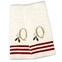 "Saturday Knight Holly Monogram 2-Piece ""Q"" Hand Towel Set"