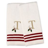 "Saturday Knight Holly Monogram 2-Piece ""T"" Hand Towel Set"