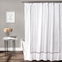 Lush Decor Hotel Collection 72-Inch x 72-Inch Geometric Shower Curtain in White/Grey