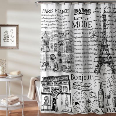 Lush Decor 70 Inch X 72 Paris France Shower Curtain In Black