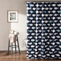 Lush Decor® Whale Shower Curtain in Navy
