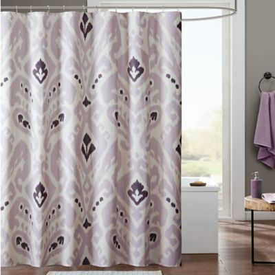 INK+IVY Sasha Printed Shower Curtain In Lavender