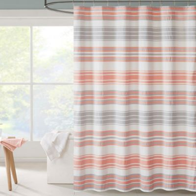 Intelligent Design Ana Puckering Stripe Shower Curtain In Coral