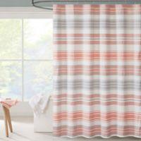 Intelligent Design Ana Puckering Stripe Shower Curtain in Coral