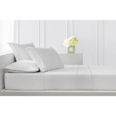sullivan pinstripe queen sheet set in white