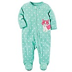 carter's® Size 6M Zip-Front Fox Polka-Dot Fleece Footie in Mint