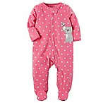carter's® Size 6M Zip-Front Koala Polka-Dot Fleece Footie in Pink