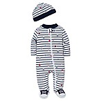 Little Me® Preemie 2-Piece Striped Sports Star Footie and Hat Set in White