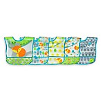 green sprouts® by i play.® 5-Pack Fox Wipe-Off Bibs in Aqua