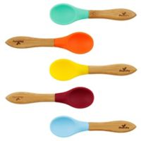 Avanchy Bamboo + Silicone Baby Feeding Spoons in Blue (Set of 5)