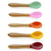 Avanchy Bamboo + Silicone Infant Baby Feeding Spoons in Pink (Set of 5)