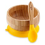 Avanchy Bamboo + Silicone Suction Baby Bowl + Spoon in Yellow