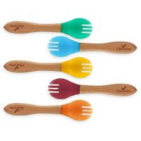 Avanchy Bamboo + Silicone Toddler Feeding Forks in Blue (Set of 5)
