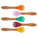 Avanchy Bamboo + Silicone Toddler Feeding Forks in Pink (Set of 5)