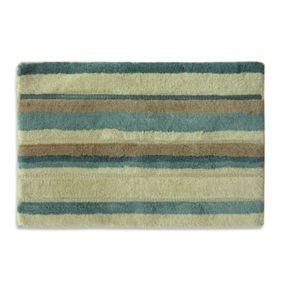 Delightful Bacova Tetons Stripe Bath Rug In Ivory/Brown