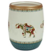 Bacova Boho Elephant Wastebasket in Green/Beige