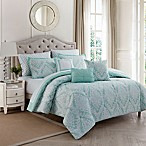 Hyde Damask 10-Piece Full/Queen Comforter Set in Spa/Sand