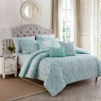 Hyde Damask 10-Piece King Comforter Set in Spa/Sand