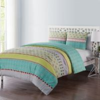 VCNY Home Dharma 3-Piece Reversible Full/Queen Duvet Cover Set in Green/Grey