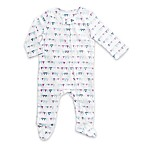 aden® by aden + anais® Size 3-6M Zip-Front Flags Footie in White/Blue