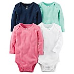carter's® Size 3M 4-Pack Pointelle Long Sleeve Bodysuits in Navy/White/Pink/Green