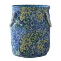 Bintopia Round Canvas Hamper with Rope Handles in Blue/Grey