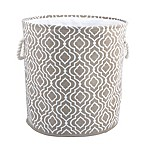 Bintopia Round Canvas Hamper with Rope Handles in Tan/White