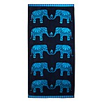 Elephant Jacquard Oversized Beach Towel in Blue