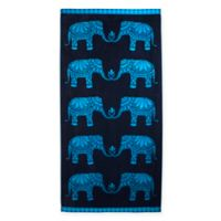 Elephant Jacquard Oversized Beach Towel in Blue